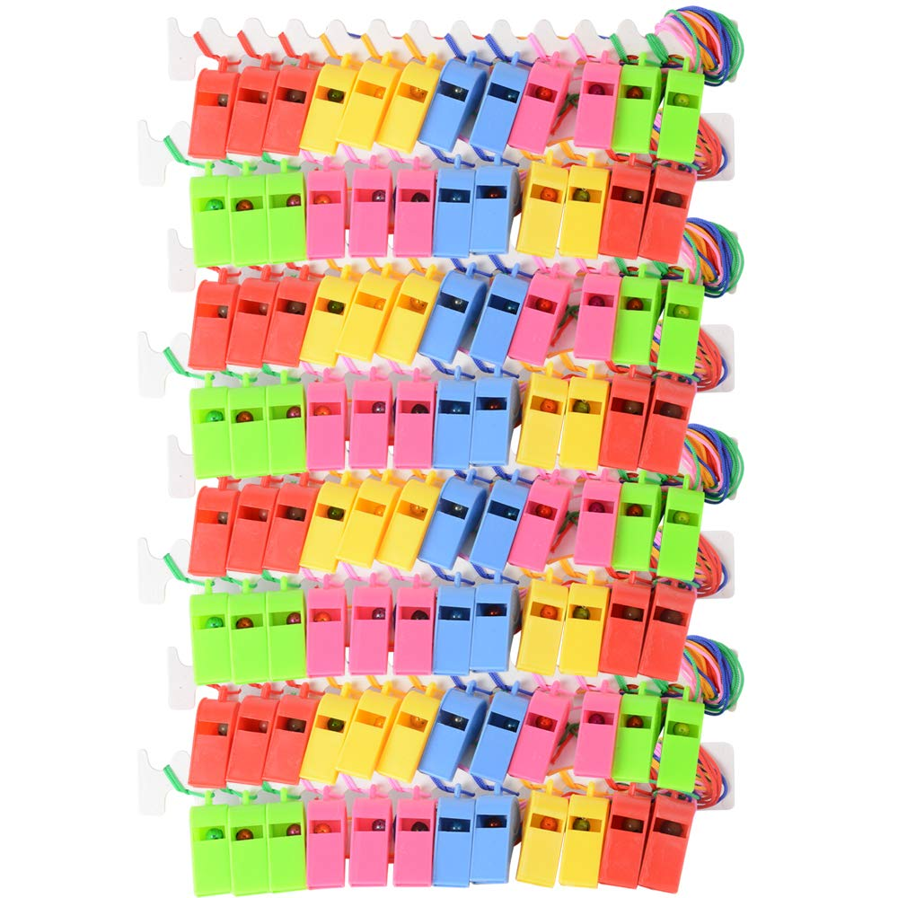 JNCH 48pz Fischietti Colorati Plastica con Cordini Fischi per Compleanno Feste Bomboniere Natale Sportive in 5 Colore