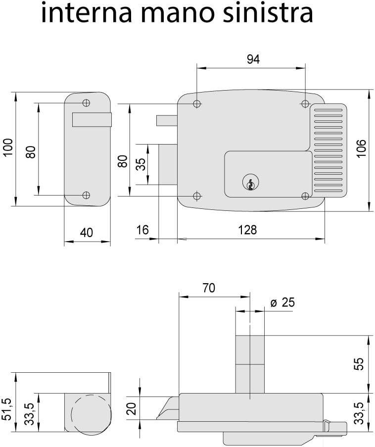 Galvanised CISA Electric Lock Silver 11721502 12/V 12 voltsV