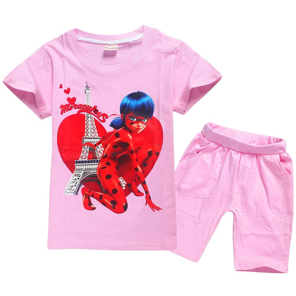 Miraculous Ladybug Set di abbigliamento Bicchierini della maglietta del manicotto del bicchierino del giro di stampa del modello del fumetto dei bambini dellabbigliamento di esplosione ragazzi che ra