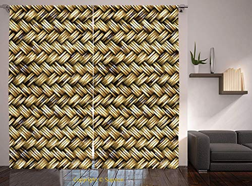 Living Room Bedroom Window Drapes/Rod Pocket Curtain Panel Satin Curtains/2 Curtain Panels/108 x 95 Inch/Abstract,Rattan Basket Weave Pattern Natural Boho Country Style Geometric Monochrome Art -