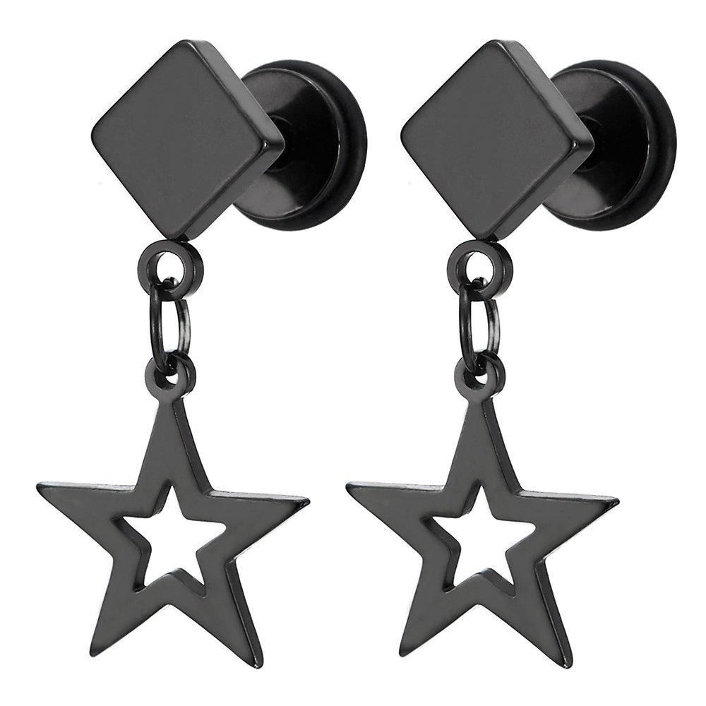 Pair Steel Black Square Stud Earrings with Dangling Hollow Star for Men Women Boys, Screw Back