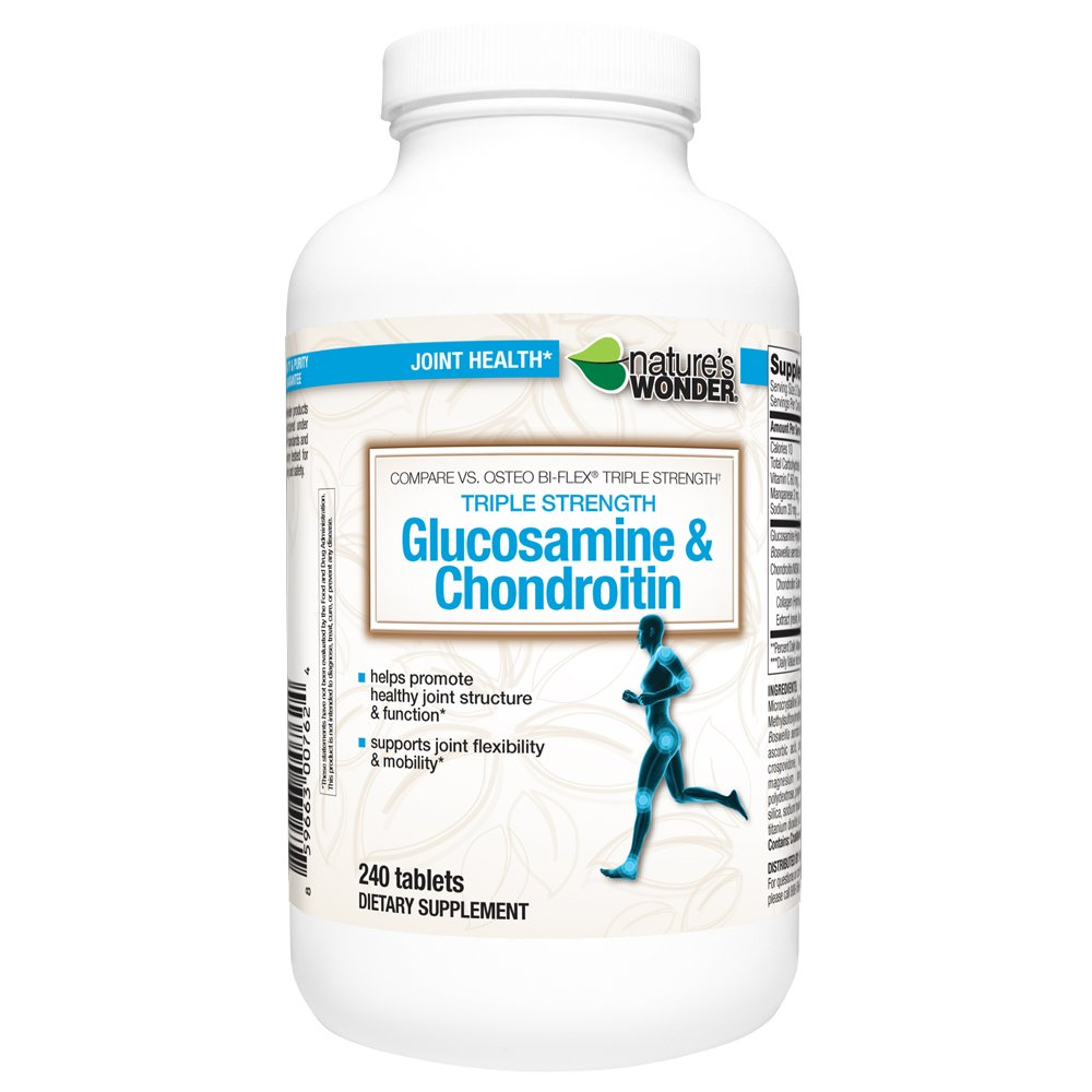Nature's Wonder Glucosamine Chondroitin Triple Strength with MSM Tablets, 240 Count, Compare vs. Osteo Bi-Flex® Triple Strength