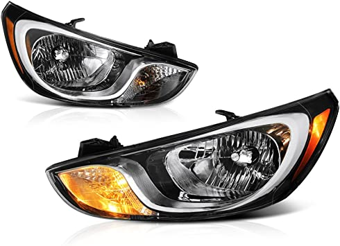 Original Style Fits 2012 2013 2014 Accent Halogen Headlights Lamps Replacement