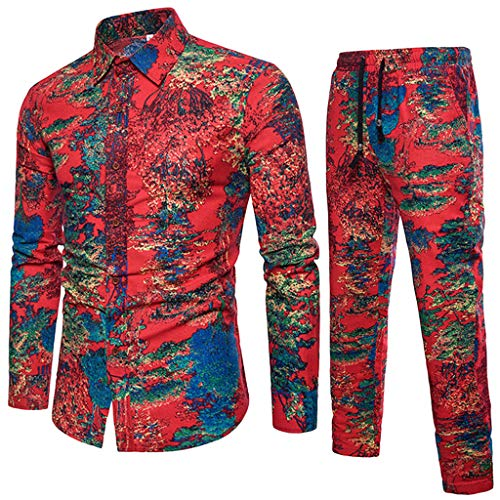 Leisure Suit Shirt - 2019 Leisure Suit Men's Premium Suit Spring Casual Tracksuits Slim Fit Long Sleeve Print Shirt+Joggers by-Leegor Red