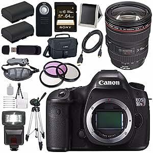 Canon EOS 5DS-R 5DSR DSLR Camera + EF 24-105mm f/4L IS USM Lens + LPE-6 Lithium Ion Battery + Canon 100ES EOS shoulder bag Bundle 6