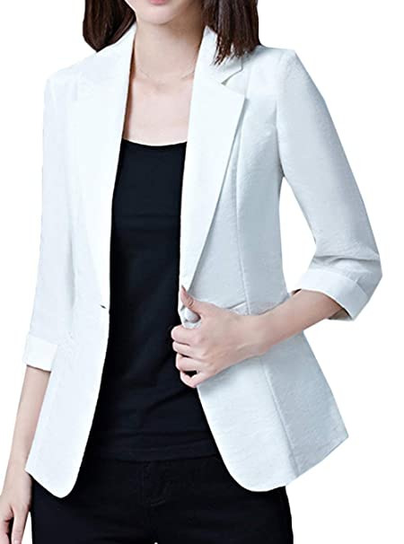 Mujer Outerwear Otoño Manga Larga De Solapa Delgado Oficina ...
