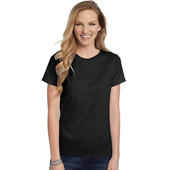 0b45a4e3 Image Unavailable. Image not available for. Color: Hanes Women's Relaxed  Fit Jersey ComfortSof Crewneck T-Shirt