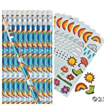 RAINBOWS & CLOUDS Party FAVORS - 12 PENCILS & 24 STICKER Sheets - WEATHER - SUMMER Arts & Crafts - TEACHER - Daycare
