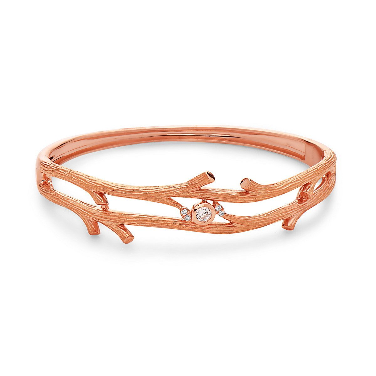 18K Rose Gold 0.15 CTTW Diamond Twig Style Bangle Bracelet (H Color, SI1 Clarity) by Socheec