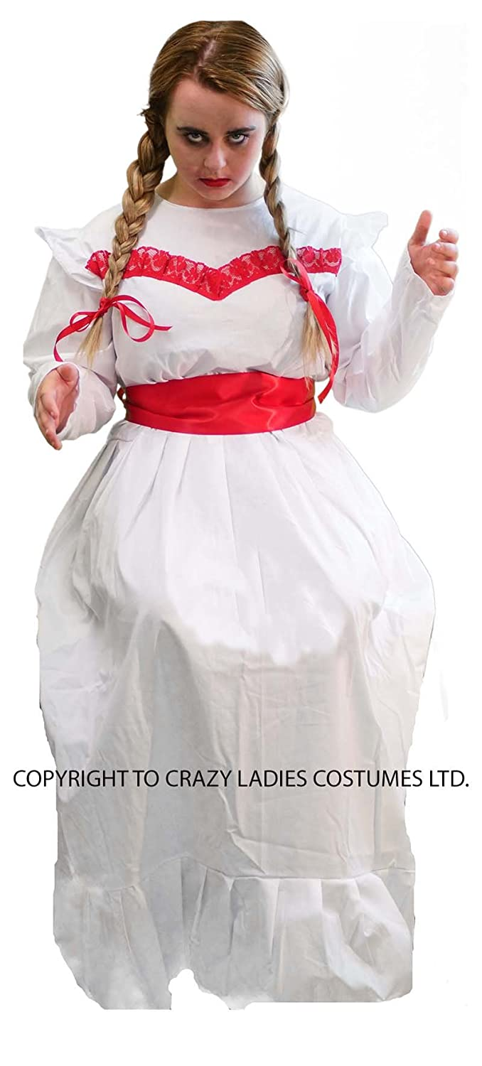 ANNABELLE HORROR DOLL COSTUME -White Frilly Dress/Ribbons; Size 10 to 42