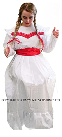 Halloween Scary Evil ANNABELLE HORROR DOLL COSTUME White Frilly Dress With Ribbons