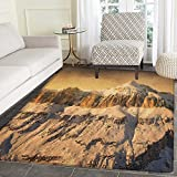 Mountain Area Rug Carpet Surreal Saturated Photo of the Italian Twin Mountain Peaks with Silent Overcast Sky Customize door mats for home Mat 2'x3' Sepia