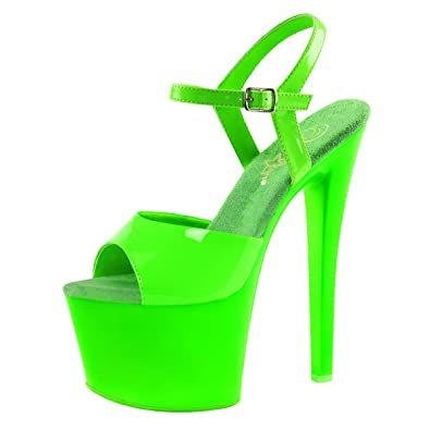 aefc8d3f5a9 Summitfashions Womens Neon Green Shoes Platform Sandals Ankle Strap UV  Reactive 7 Inch Heels Size