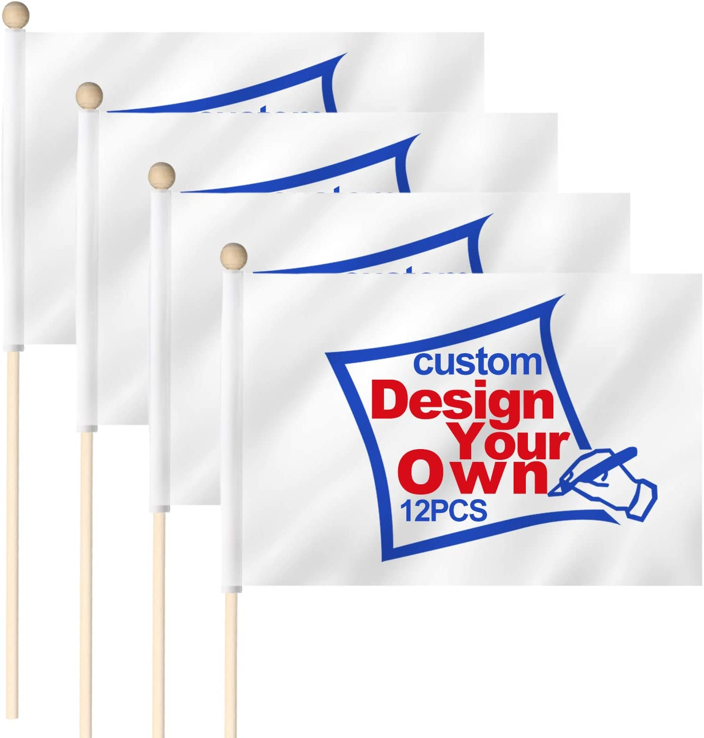 ANLEY Custom Miniature Stick Flag 4X6 in with Wooden Pole - Print Your Own Logo/Design/Words - Fade Resistance & Easy Peasy - Customized Handheld Mini Flags Banners (1 Dozen)