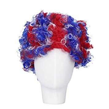 Huphoon Wigs Promotions Russia 2018 Football Theme Short Curly Fluffy Full Wig For Football Fans Carnival