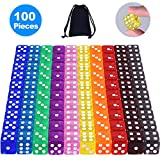 AUSTOR 100 Pieces 6-Sided Game Dice Set (Free Pouch), 10 Translucent Colors Square Corner Dice for Tenzi, Farkle, Yahtzee, Bunco or Teaching Math