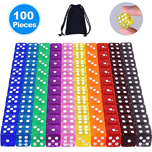 Sided Game Dice Set (Free Pouch), 10 Translucent Colors Square Corner Dice for Tenzi, Farkle, Yahtzee, Bunco or Teaching Math (100 Piece Game Set)