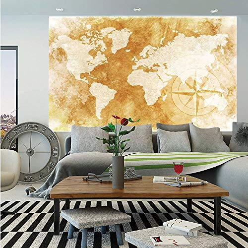 SoSung Compass Removable Wall Mural,Old Fashioned World Map Design with Compass in Retro Distressed Colors Continents,Self-Adhesive Large Wallpaper for Home Decor 66x96 inches,Cream Tan