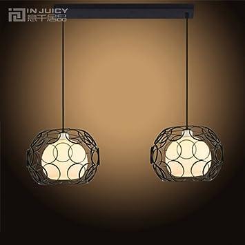 Injuicy lighting contemporain verre cage en fer abat jour plafond lampe e27 pendentif de lumière