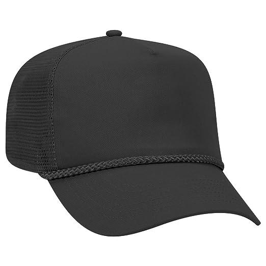 1888dbe7e2b15c OTTO Cotton Blend Twill 5 Panel Pro Mesh Back Trucker Hat - Black at ...