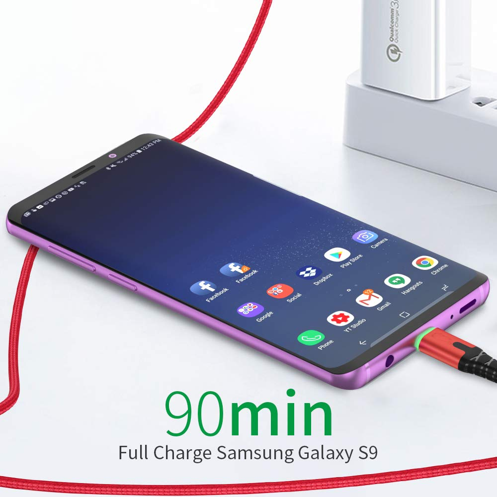 JFS Led Charging Cable Type C Charger Lead Fast Charging Cable with LED Light Compatible with Samsung//LG//Google Pixel//Oneplus//Huawei,Gray,9.8ft
