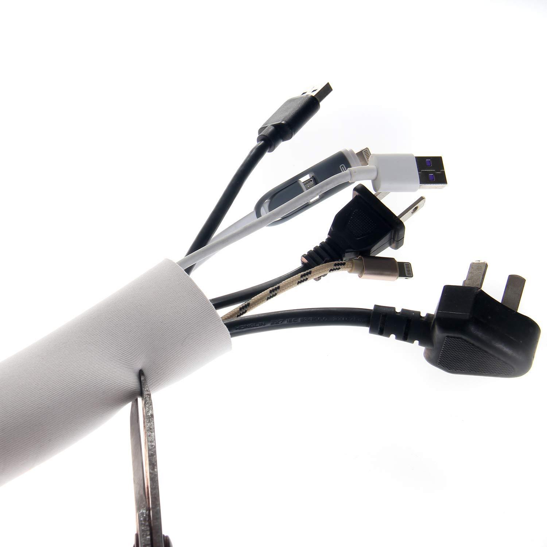 USB Blanc//noir Audio 6 m/ètres Gaine de C/âble en N/éopr/ène Home Cin/éma C/âble Rangement pour Ranger Cacher les c/âbles de TV C/âble Organisateur R/églable Flexible 2x3m Ordinateur TKB5061-2x