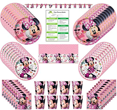 (Minnie Mouse Birthday Party Supplies Pack: Big/Small Plates, Cups, Napkins, Table Cover, Banner - 16 Guests)