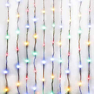 Colorful Curtain Lights,USB Powered 300 LED Fairy String Lights,IP64 Waterproof & 8 Modes Twinkle Lights for Wedding Parties Bedroom Window Wall Decor (Mutilcolor,9.8x9.8Ft)