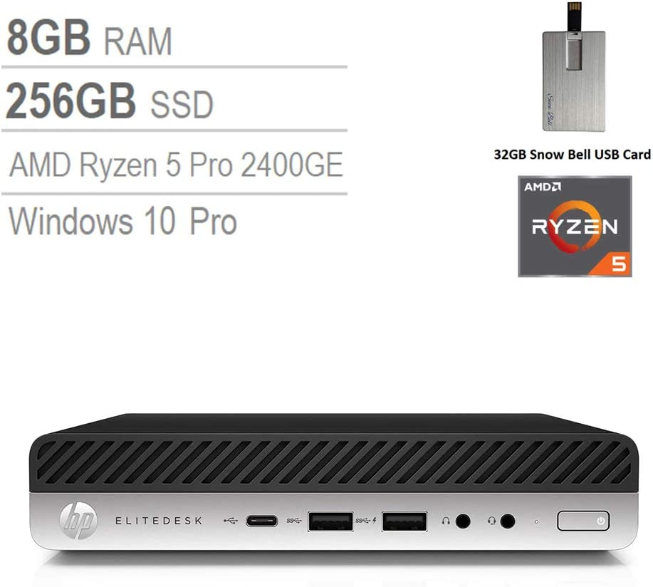 2020 HP EliteDesk 705 G4 Desktop Mini Computer, AMD Ryzen 5 PRO 2400GE Processor, 8GB RAM, 256GB SSD, AMD Radeon RX Vega 11 Graphics, Keyboard, USB Type-C, Windows 10 Pro, 32GB Snow Bell USB Card