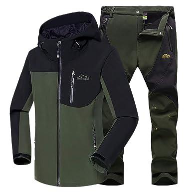 WANPUL Chaqueta Softshell Hombre Pantalon Softshell Conjunto Outdoor Transpirables Chaqueta Montaña Pantalones Montaña