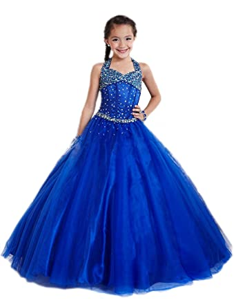 SHENLINQIJ Girls Sleeveless Prom Dresses Blue Flower Girl Dress with Dimaond