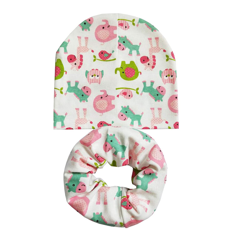 Cartoon Print Kids Hat Baby Boy Hat Cotton Children Scarf Collar Infant Caps Newborn Cap Girl Beanie Hats
