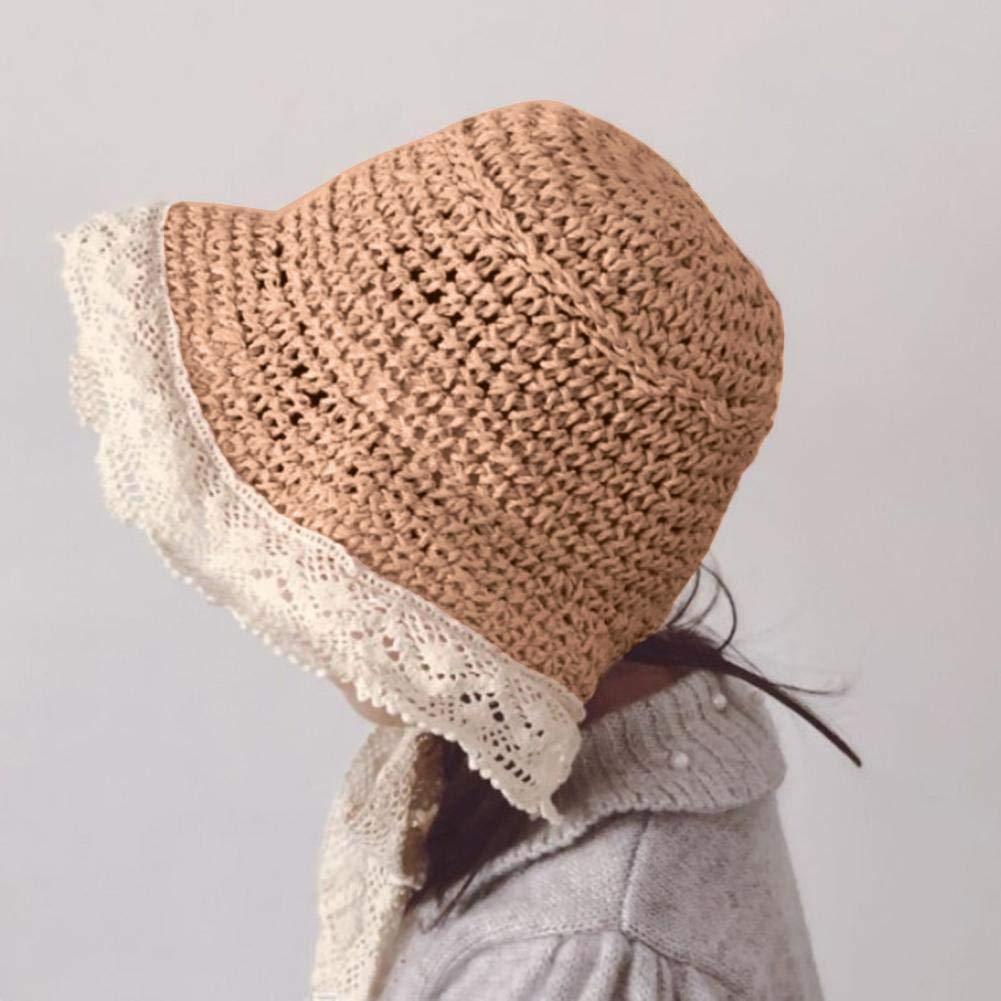 Domybest Cappello di Paglia Bambino con Benda di Pizzo Stile Pastorale Europeo Cappello da Sole Estivo Traspirante Anti-UV Cappellino da Spiaggia Bambina