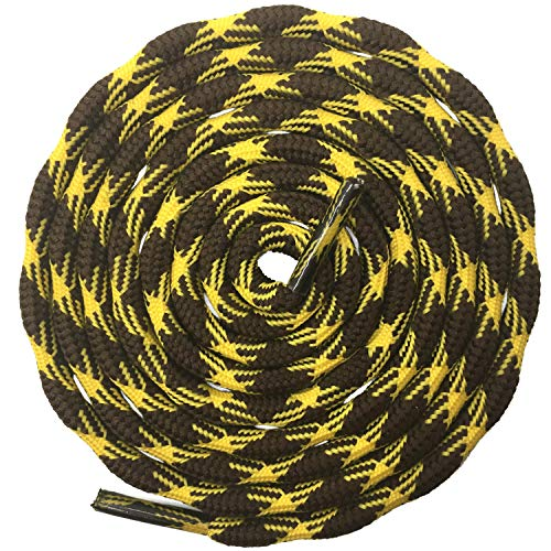 DELELE 2 Pair Round Wave Shape Non Slip Heavy Duty and Durable Outdoor Climbing Shoelaces Yellow&Brown Hiking Shoe Laces Shoestrings-71