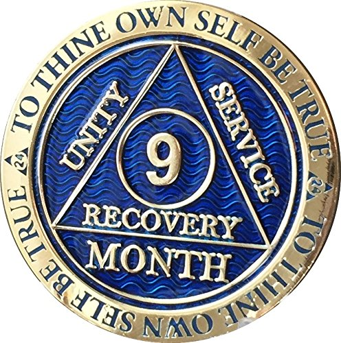 - 9 Month AA Medallion Reflex Blue Gold Plated Chip