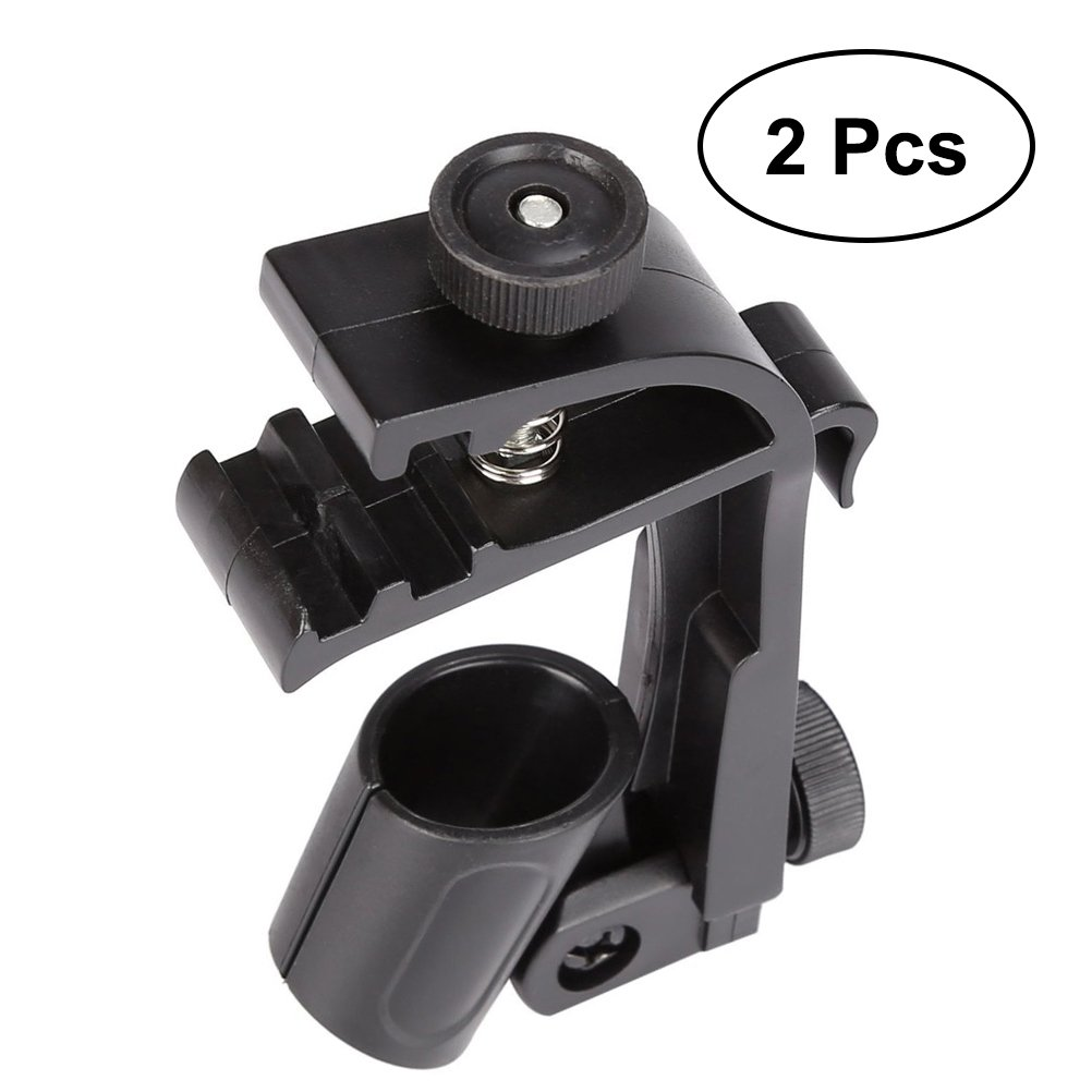 ULTNICE Adjustable Drum Microphone Clip Clamping Mount Microphone Stand Shockproof Microphone Holder Gear 2pcs (Black)
