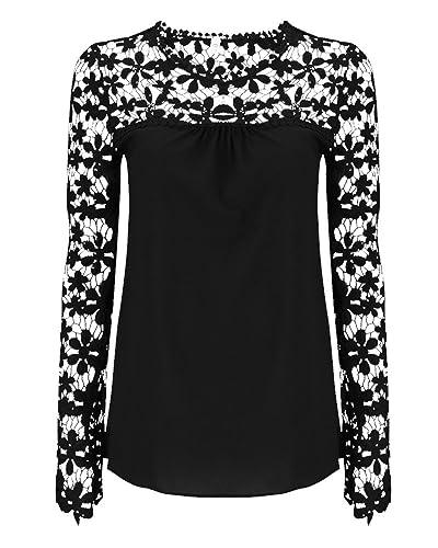 Blusa Camiseta Casual Elegante Oficina Verano Playa Encaje Mangas Largas Para Mujer