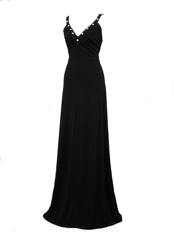 dress190 negro Grecian Cross Back Maxi Prom Boda Formal vestido de noche vestidos de novia negro negro 46: Amazon.es: Ropa y accesorios
