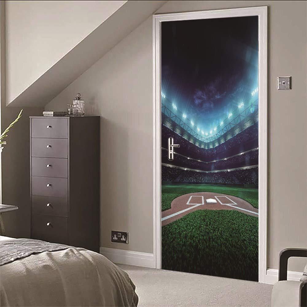 Zyyanaes 3D Door Stickers Wall Mural Door Sticker Mural Baseball Field for Bedroom Bathroom Self-Adhesive PVC Wall Sticker -95x215cm