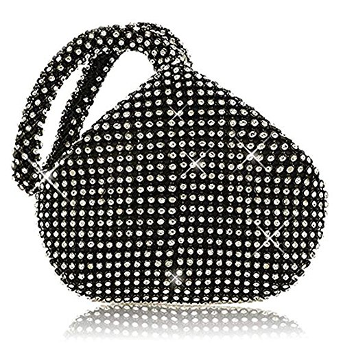 Mini Diamante Evening Hand Pouch Soft Handbag Wrist Rhinestones Crystal Bag Purse Black Shaped Clutches Bag wTXXxBR
