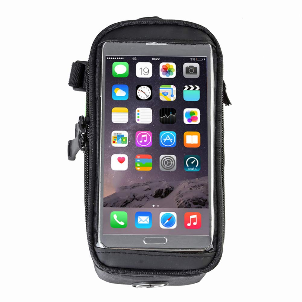 Bike Phone Front Frame Bag with Touch Screen Sun Visor Large Capacity Phone Waterproof Bicycle Top Tube Cycling Phone Mount Pack Case for Cellphone Below 5.5 iPhone 7 8