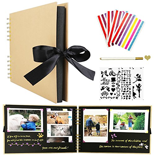 Scrapbook Photo Album,Wedding Guest Book, DIY Anniversary Memory Scrapbooking,80 Pages Craft Paper,Wedding Photo Album with DIY Accessories Kit Great for Craft Paper DIY Valentines Day Gifts