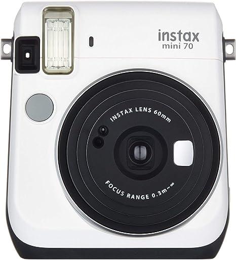 Oferta amazon: Fujifilm Instax Mini 70 - Cámara Analógica Instantánea (ISO 800, 0.37X, 60 mm, 1:12.7, Flash Automático, Modo Autorretrato, Exposición Automática, Temporizador, Modo Macro), Blanco Luna