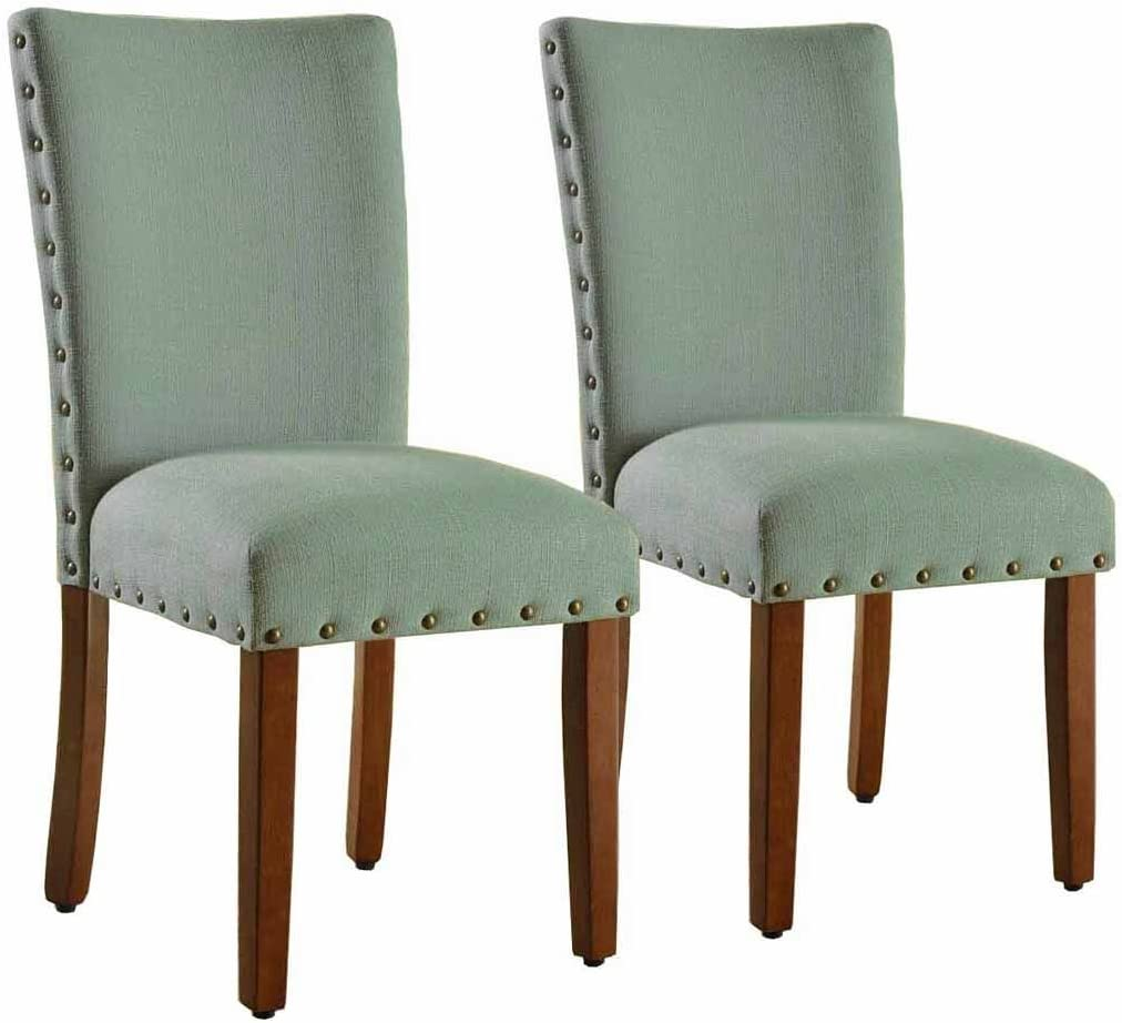 HomePop Parsons Classic Upholstered Accent Dining Chair with Nailheads, Set of 2, Sea Foam