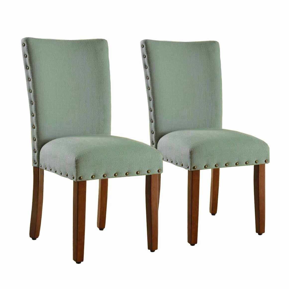 Sea Foam Set of 2 HomePop Parsons Classic Upholstered Accent Dining Chair with Nailheads, Set of 2, Sea Foam
