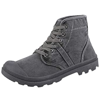 LuckyGirls Zapatillas Lona de Caña Alta para Hombre Casual Originales Color Puro Calzado de Planos Transpirables
