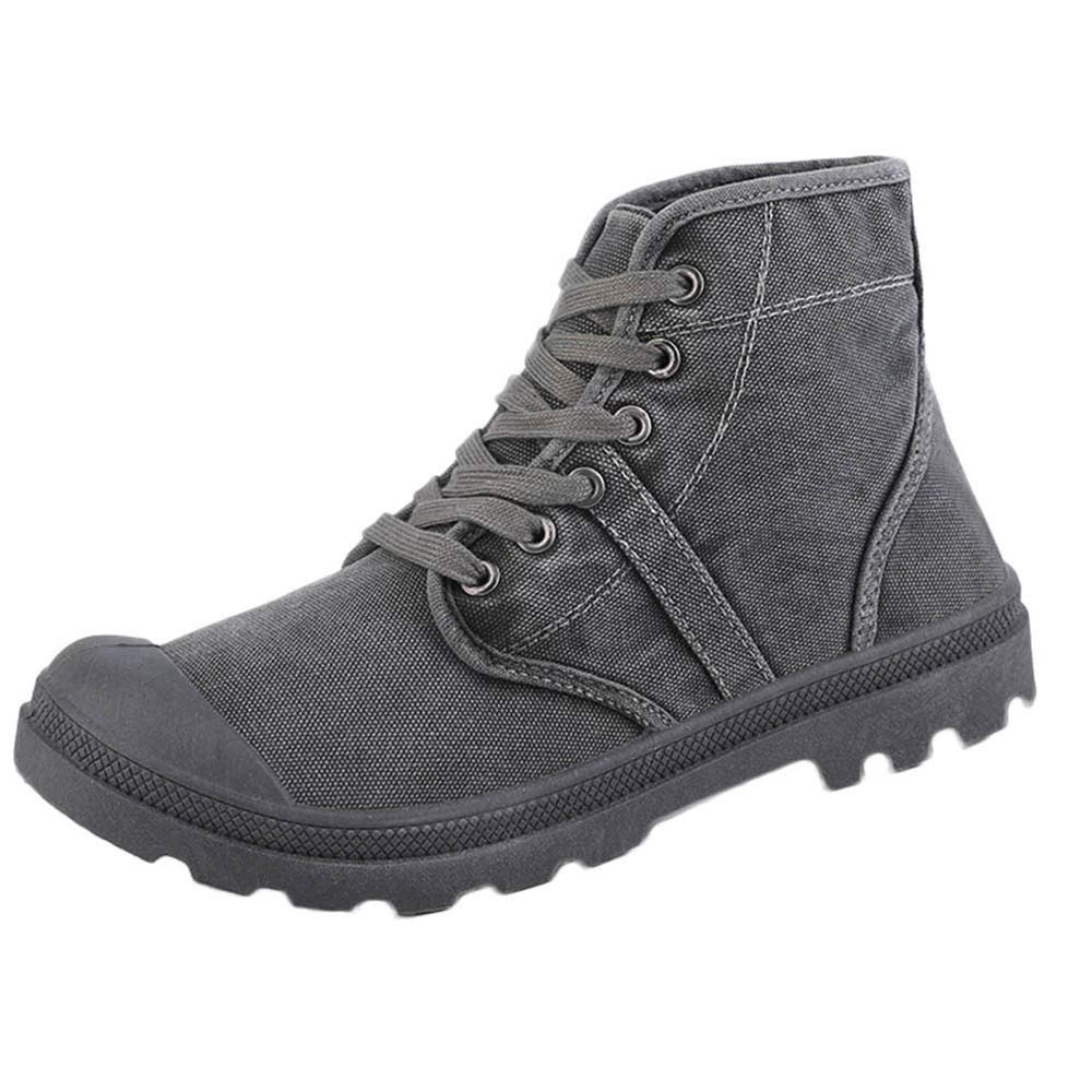 Men Ankle Boots Lace Up, Male Canvas Shoes Men Sneakers High Top Comfortable Thick Bottom Footwear