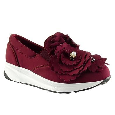Angkorly Damen Schuhe Sneaker - Slip-On - Plateauschuhe - Blumen - Perle - Strass Keilabsatz 3 cm - Burgunderrot WH849 T 39 R5vWINx