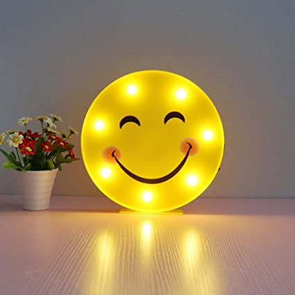 DELICORE Marquee Emoji Sign Funny LED Table Lamps Night Lights For Children  Kids Bedroom Wall Decor