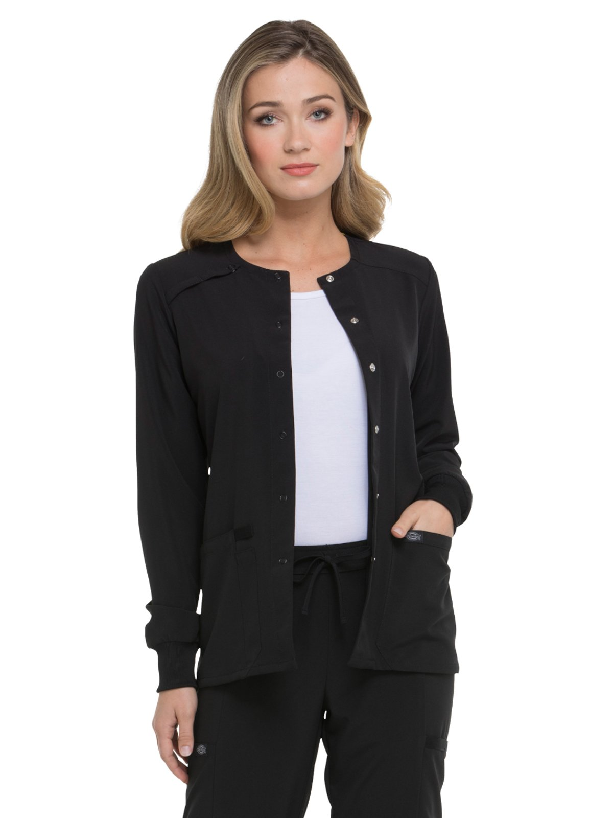 Dickies EDS Essentials by Women's Snap Front Warm-up Solid Scrub Jacket XX-Small Black